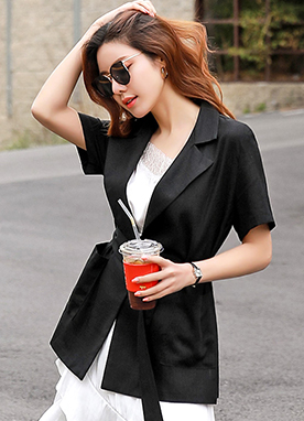 Linen Short Sleeve Belted Tailored Jacket, Styleonme