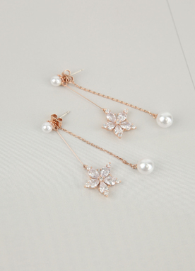 Cubic Snowflake & Pearl Earrings, Styleonme