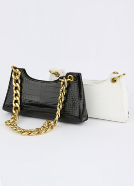 Gold Chain Croc Texture Shoulder Bag, Styleonme