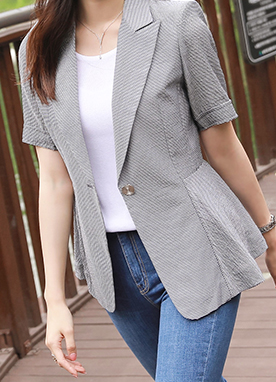 One Button Stripe Peplum Jacket, Styleonme