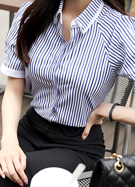 Pinstripe Puff Sleeve Collared Blouse, Styleonme