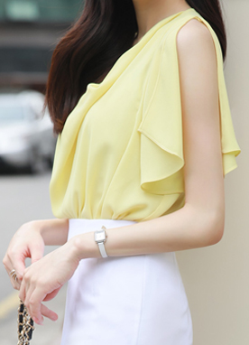 Drape Neck Slit Angel Sleeve Blouse, Styleonme