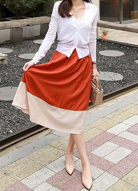 Two Color Long Flared Skirt, Styleonme