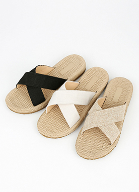 Cross Strap Straw Slippers, Styleonme