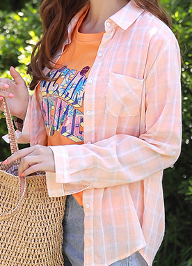 Pastel Color Check Print Collared Shirt, Styleonme