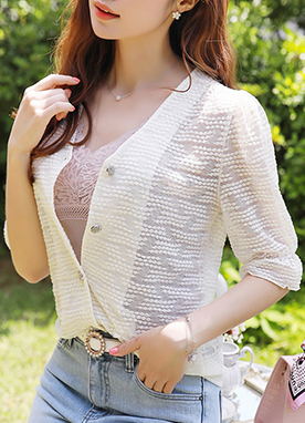 See-through Dot Lace Blouse Cardigan, Styleonme