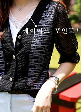 Lace V-Neck Sleeveless Blouse, Styleonme