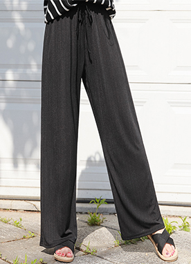 Elastic Waistband Pleated Wide Leg Pants, Styleonme