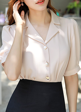 Assorted Button Puff Sleeve Collared Blouse, Styleonme