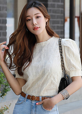 Lace Puff Sleeve Blouse, Styleonme