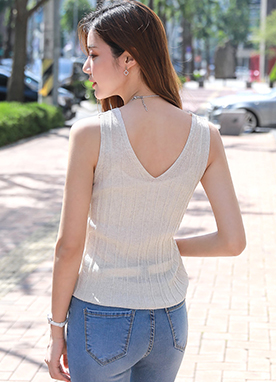 Squared Neck Ribbed Sleeveless Knit Top, Styleonme