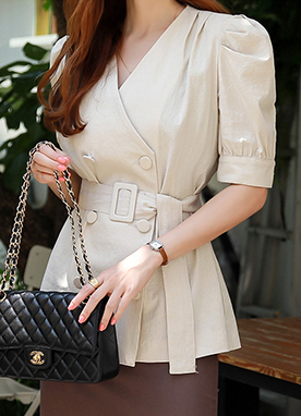 Double-Breasted Puff Shoulder Belted Linen Jacket, Styleonme