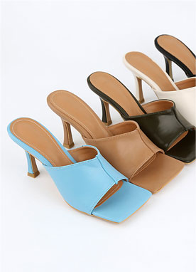 Squared High Heel Mules, Styleonme