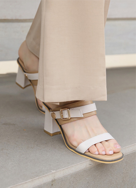 Two Color Belted Sandal Heels, Styleonme