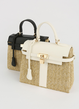 Gold Lock Rattan Tote Bag, Styleonme