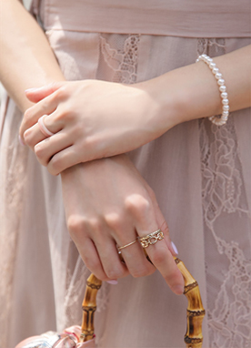 Pink & Gold 5Set Rings, Styleonme