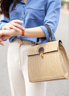 2Ways Rattan Tote Bag, Styleonme