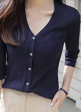 Wood Button Slim V-Neck Ribbed Cardigan, Styleonme