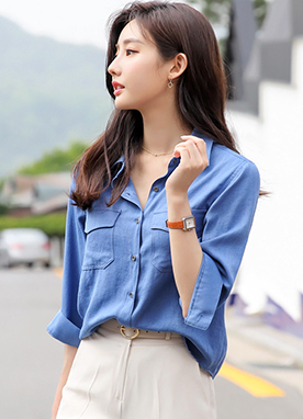 Twin Pocket Half Sleeve Collared Shirt, Styleonme