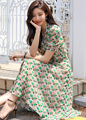 Color Pop Pattern Chiffon Flared Dress, Styleonme