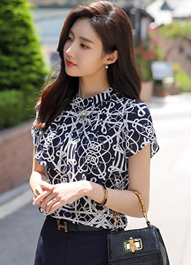 Luxury Belt & Chain Print Ruffle Blouse, Styleonme