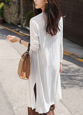 Side Slit Front Tie Long Cardigan, Styleonme