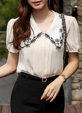 Lace Embroidered Wide Collar Blouse, Styleonme