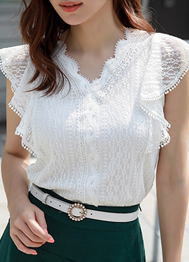 Romantic Lace Ruffle Sleeve Blouse, Styleonme