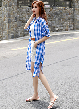 Gingham Check Print Linen Long Collared Shirt, Styleonme