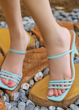 5Colors Thin Strap Mid-Heel Sandals, Styleonme