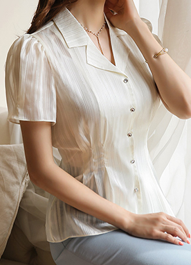Metallic Pinstripe Sheer Collared Blouse, Styleonme