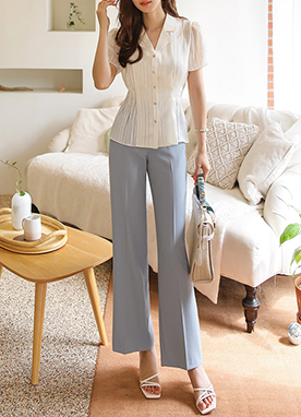 Light Hidden Elastic Waistband Wide Leg Slacks, Styleonme