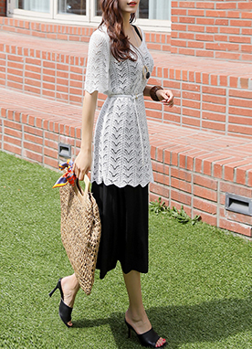 Loose Fit Knit & Sleeveless Long Dress Set, Styleonme