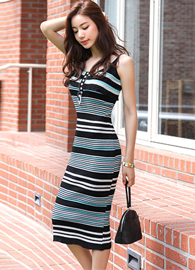 Mix Color Stripe Frill Slim Knit Dress, Styleonme