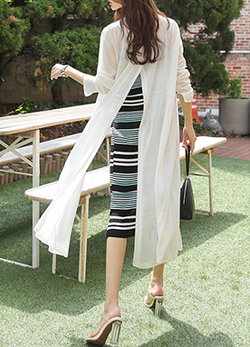 Light Open-Front Long Cardigan, Styleonme