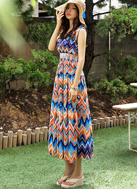 Zig-Zag Ethnic Print Sleeveless Long Dress, Styleonme