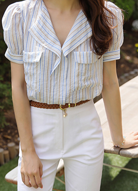 Pinstripe Twin Pocket Collared Blouse, Styleonme