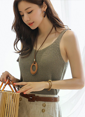 V-Neck Knit Camisole Top, Styleonme
