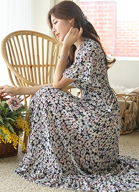 Watercolor Floral Print Wrap Style Maxi Dress, Styleonme