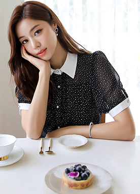 Dot Print Chiffon Collared Blouse, Styleonme