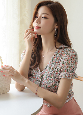 Mini Flower Garden Print Frill Lace Blouse, Styleonme