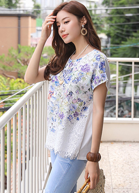 Floral Print Lace T-Shirt, Styleonme