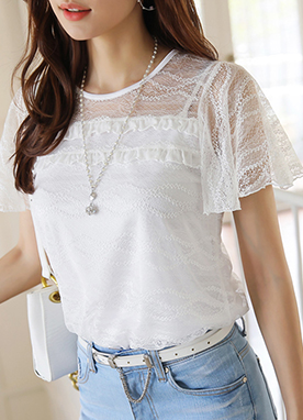 See-through Lace Angel Sleeve T-Shirt, Styleonme