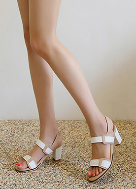 Two Color Strap Sandal Heels, Styleonme