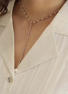 Gold Pearl Y-Drop Necklace, Styleonme