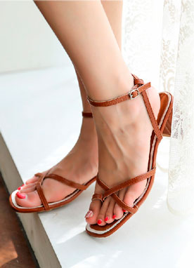 Toe Ring Cross Strap Sandal Heels, Styleonme