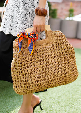 Squared Handle Rattan Bag, Styleonme