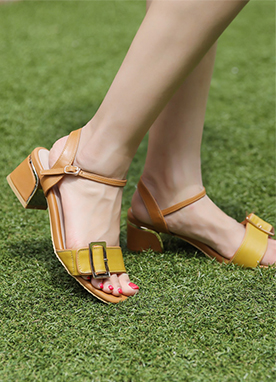 Gold Buckle Sandal Heels, Styleonme