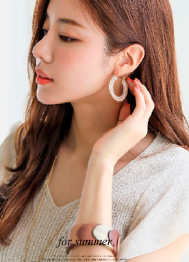 Acrylic Marble Hoop Earrings, Styleonme
