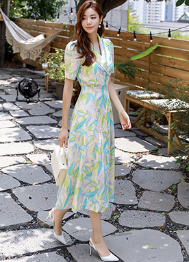 Tropical Leaf Print Double-Breasted Long Dress, Styleonme